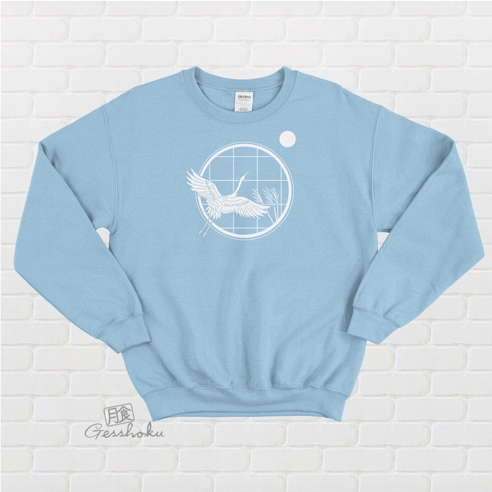 Crane and Moon Crewneck Sweatshirt - Light Blue