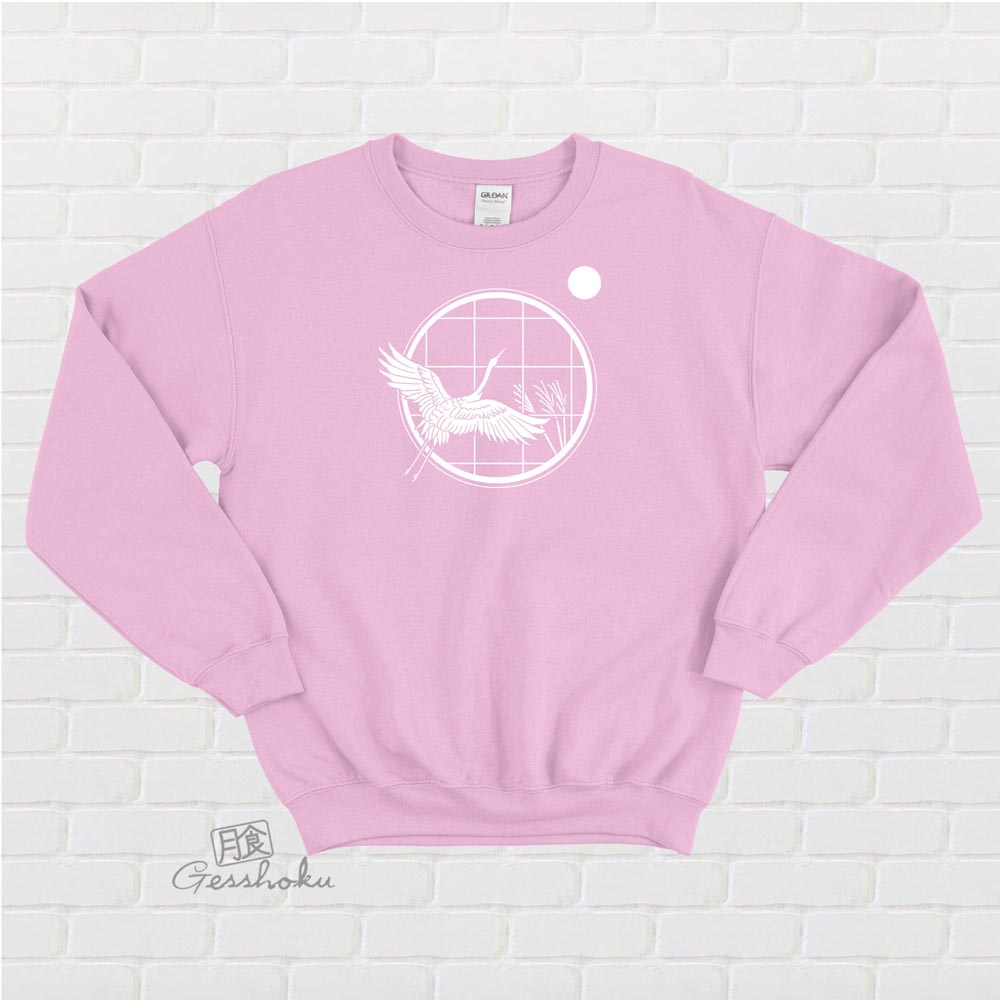Crane and Moon Crewneck Sweatshirt - Light Pink