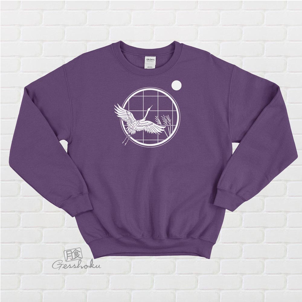 Crane and Moon Crewneck Sweatshirt - Purple