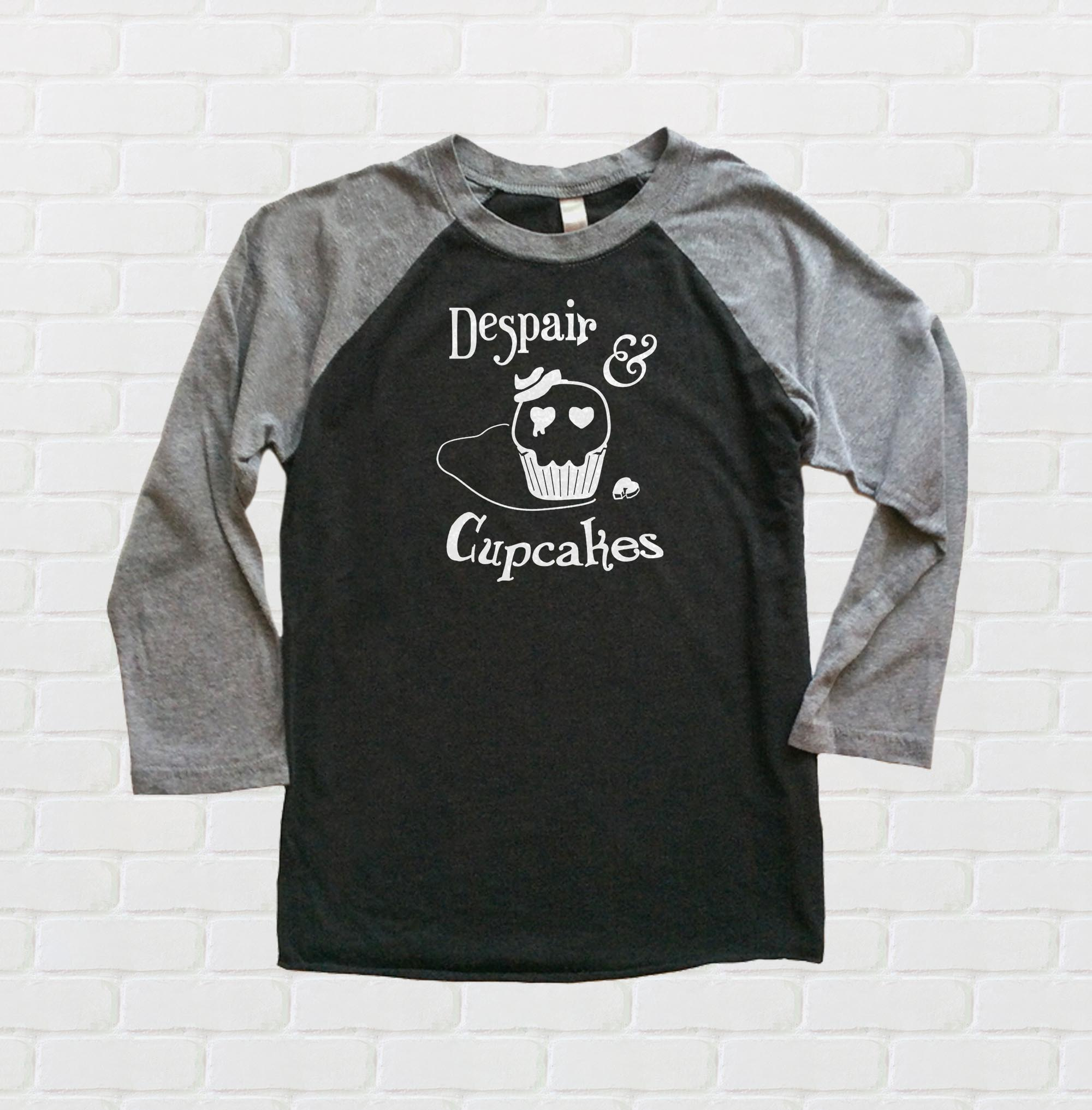 Despair and Cupcakes Raglan T-shirt 3/4 Sleeve - Black/Charcoal Grey