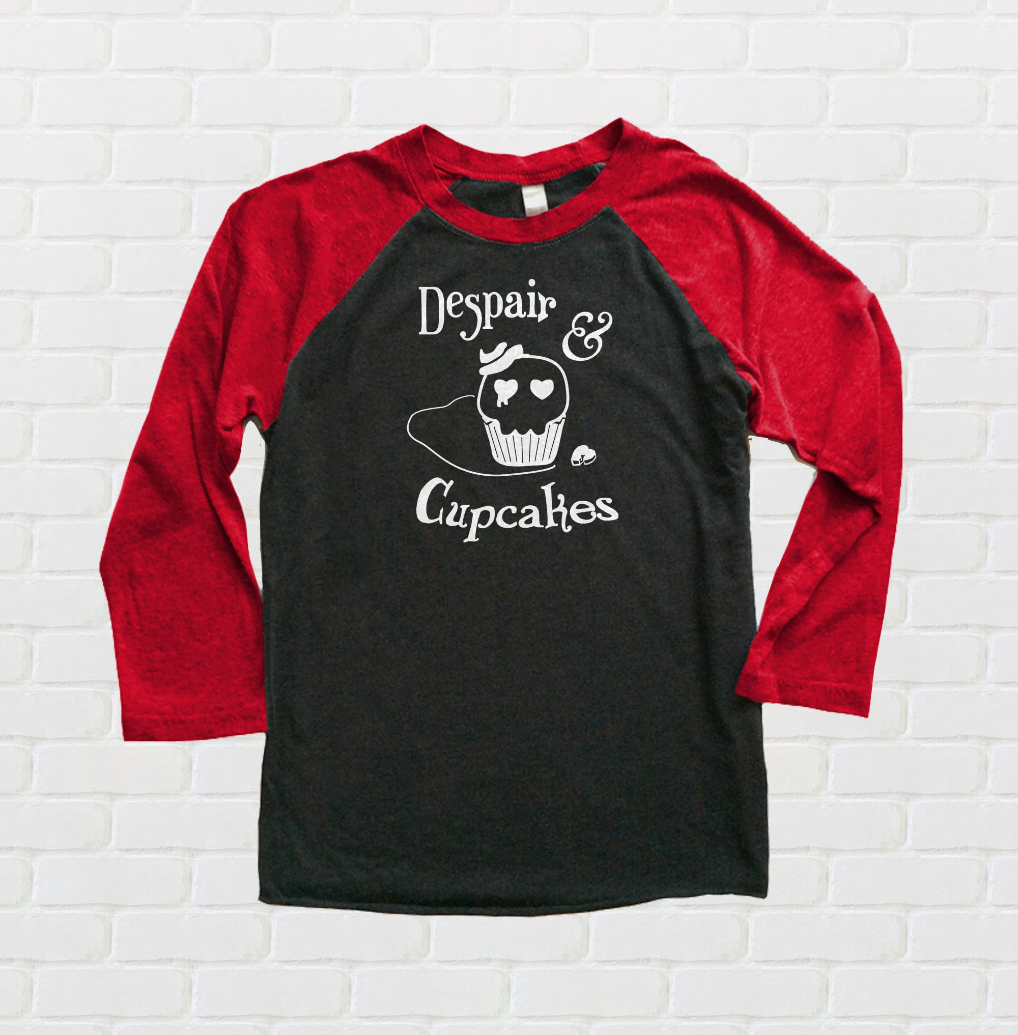 Despair and Cupcakes Raglan T-shirt 3/4 Sleeve - Red/Black