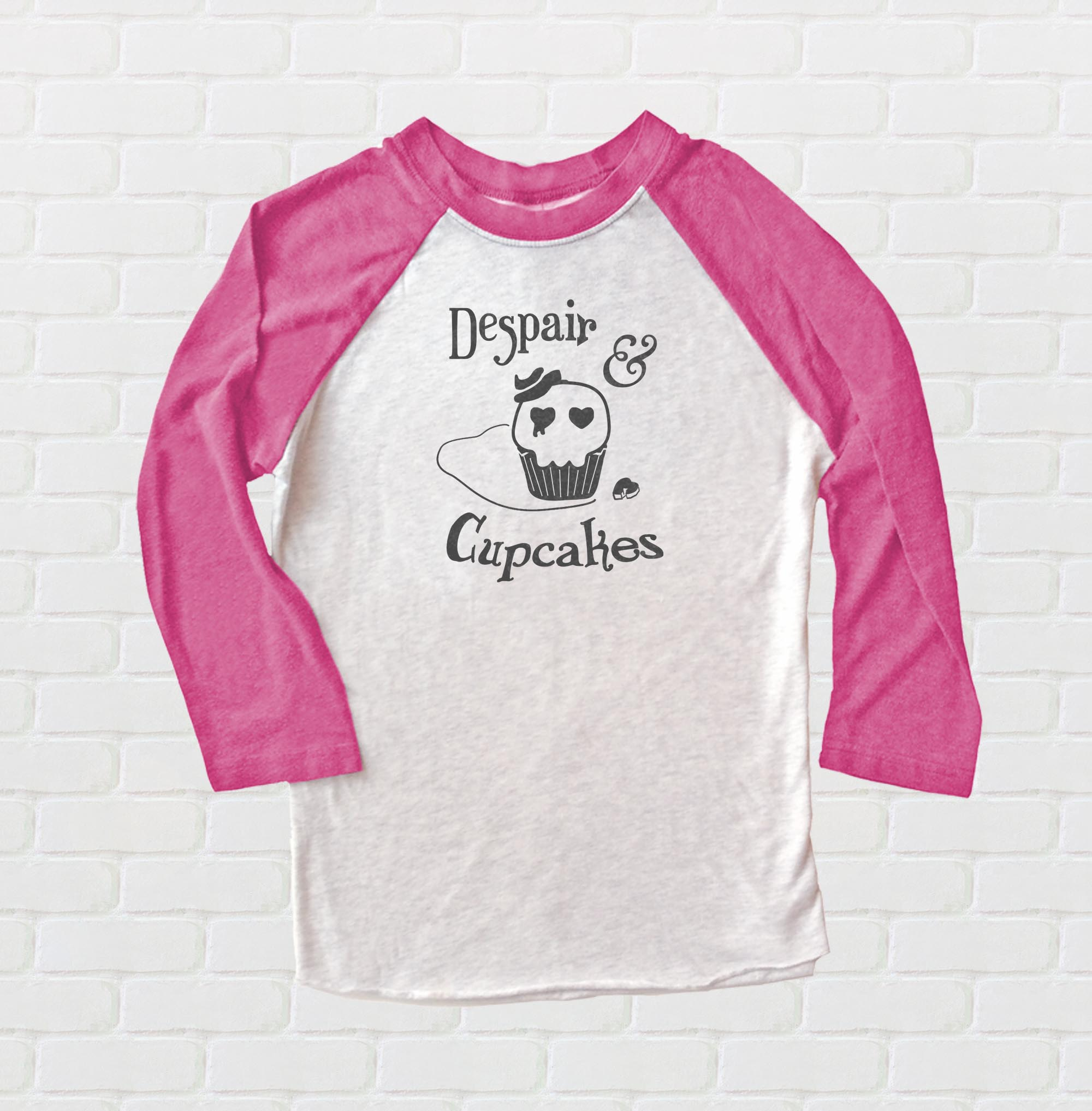 Despair and Cupcakes Raglan T-shirt 3/4 Sleeve - Pink/White