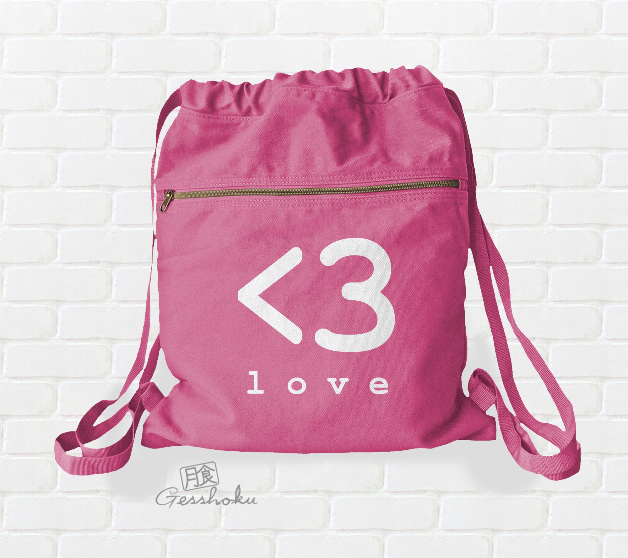 Digital Love Cinch Backpack (black/pink)