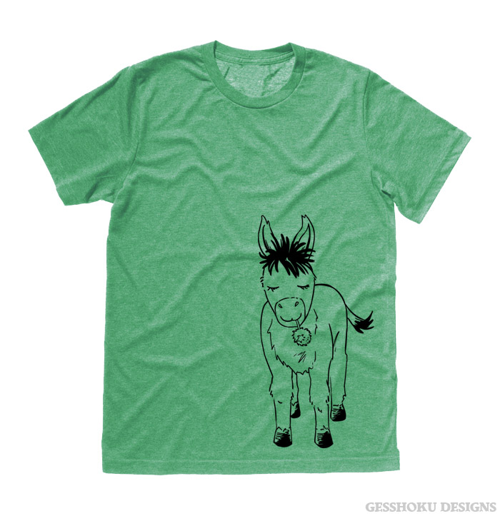 Donkey with Flower T-shirt - Heather Green