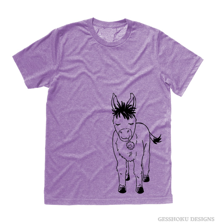 Donkey with Flower T-shirt - Heather Purple