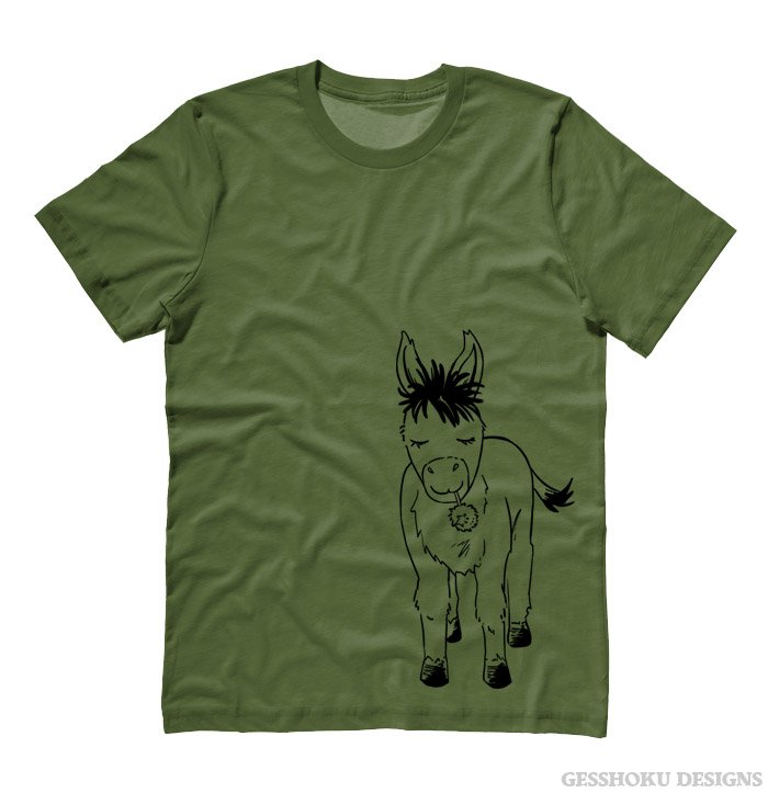 Donkey with Flower T-shirt - Olive Green
