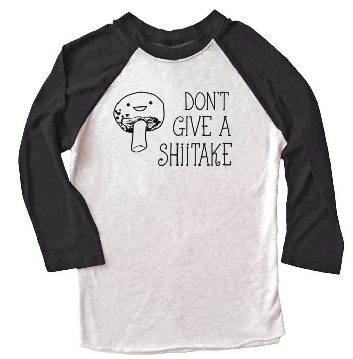 Don't Give a Shiitake Raglan T-shirt 3/4 Sleeve - Black/White