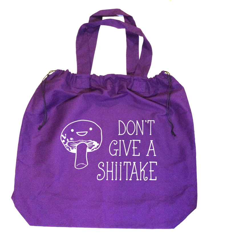Don't Give a Shiitake Extra-Large Drawstring Beach Bag - Purple