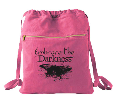 Embrace the Darkness Cinch Backpack - Raspberry