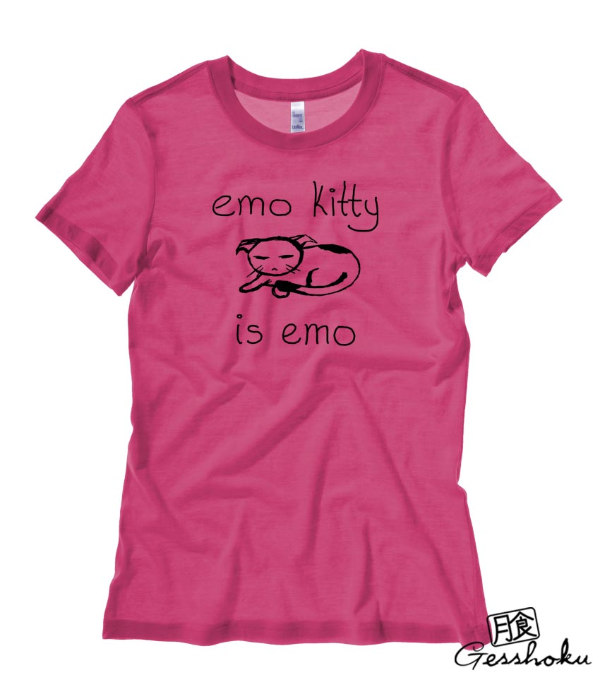 Emo Kitty Ladies T-shirt - Hot Pink