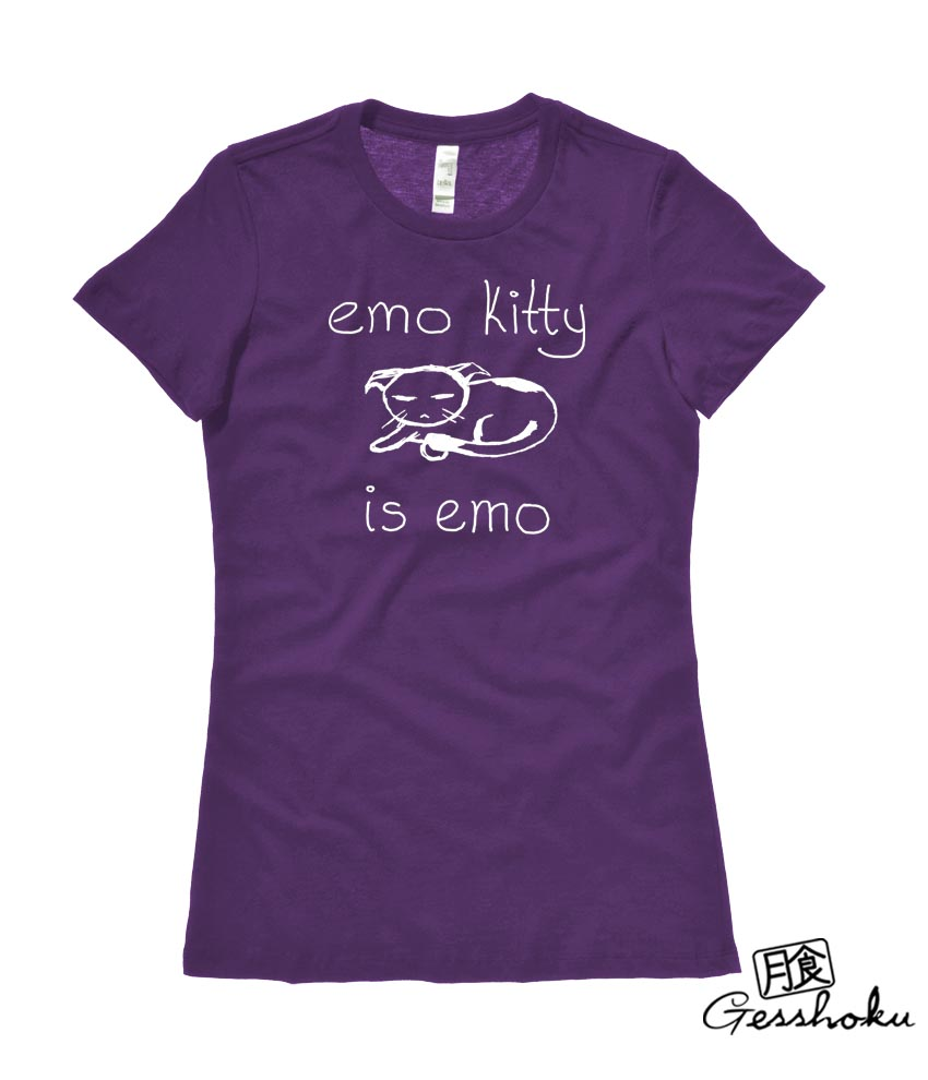 Emo Kitty Ladies T-shirt - Purple