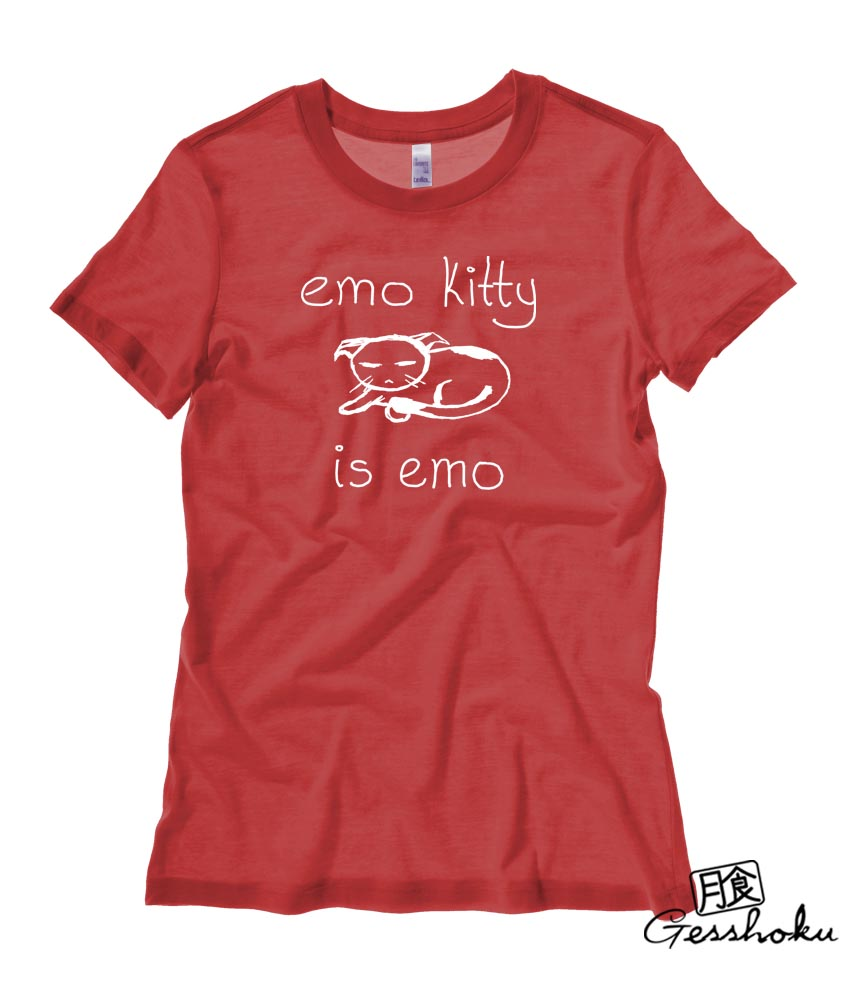 Emo Kitty Ladies T-shirt - Red