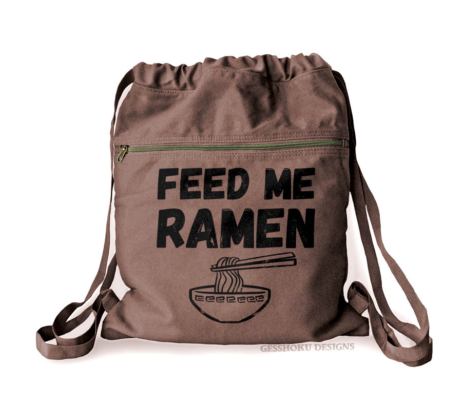Feed Me Ramen Cinch Backpack - Brown