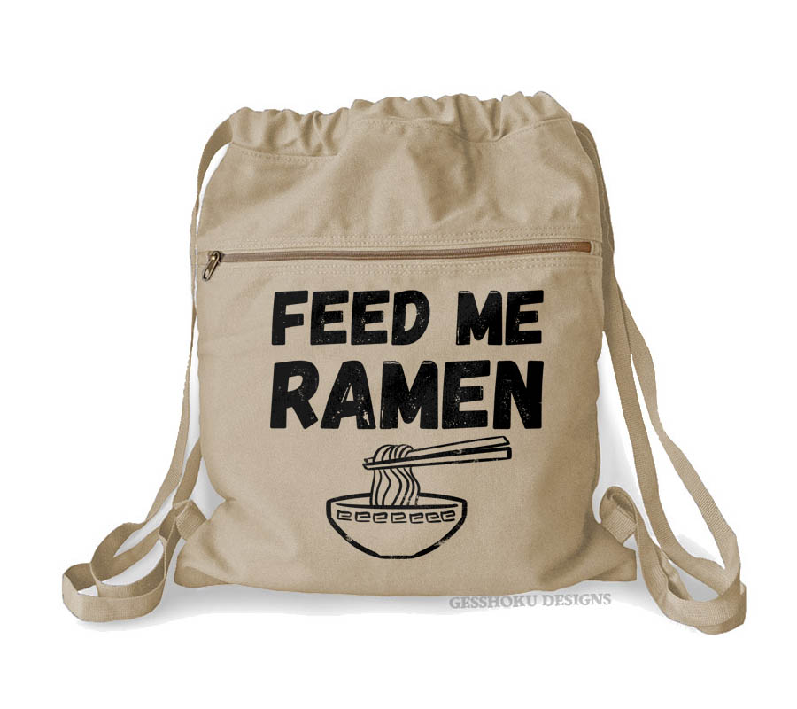 Feed Me Ramen Cinch Backpack - Natural