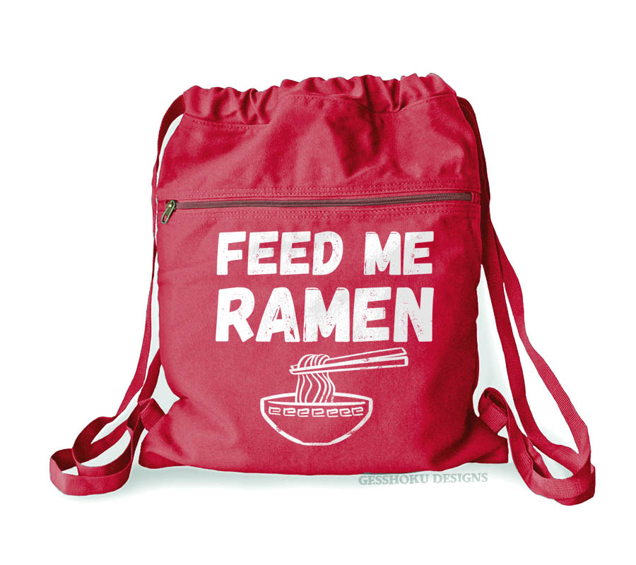 Feed Me Ramen Cinch Backpack - Red