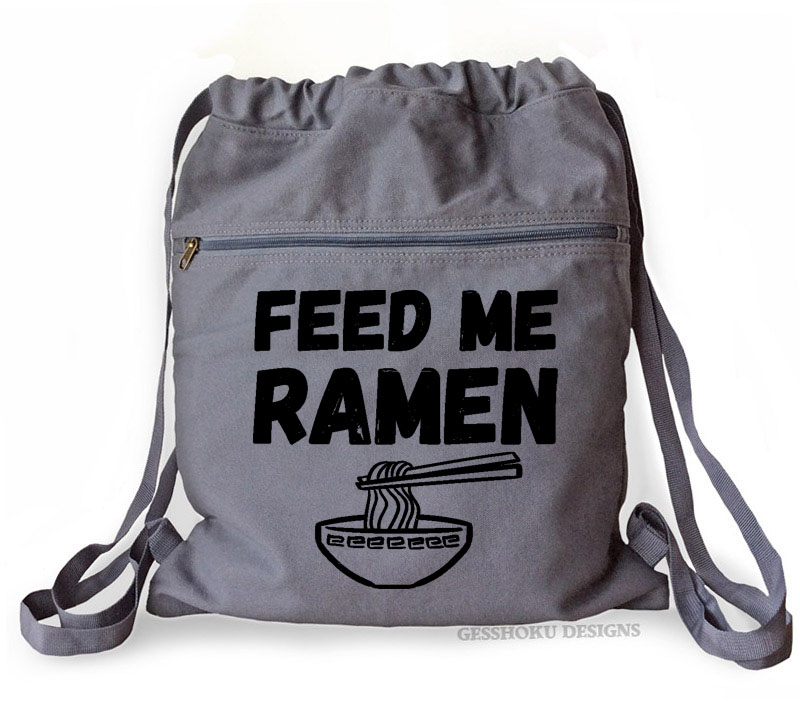 Feed Me Ramen Cinch Backpack - Smoke Grey