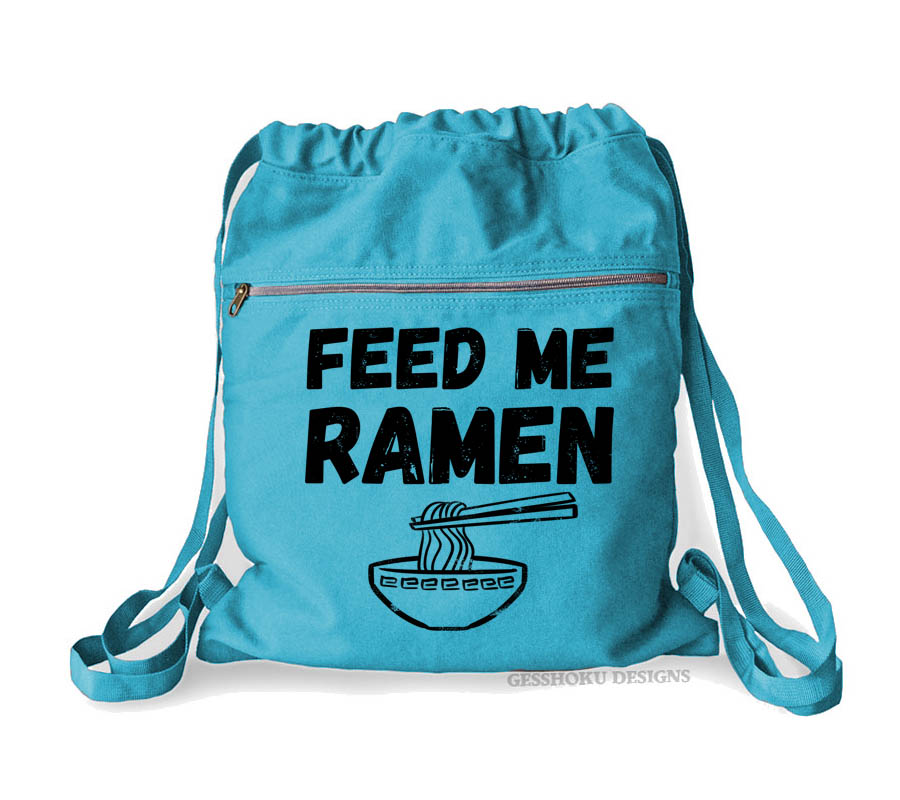Feed Me Ramen Cinch Backpack - Aqua Blue