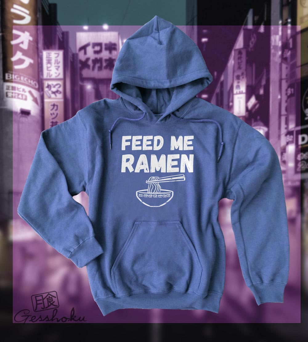 Feed Me Ramen Pullover Hoodie - Heather Blue