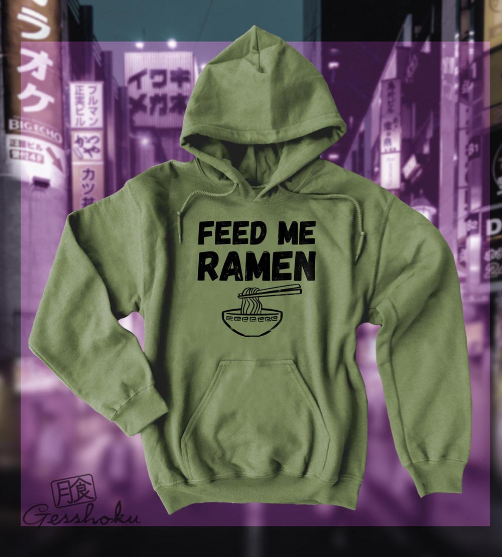 Feed Me Ramen Pullover Hoodie - Olive Green