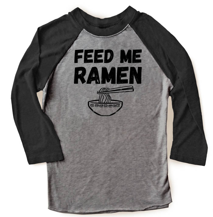 Feed Me Ramen Raglan T-shirt 3/4 Sleeve - Black/Charcoal Grey