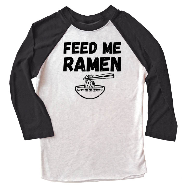 Feed Me Ramen Raglan T-shirt 3/4 Sleeve - Black/White