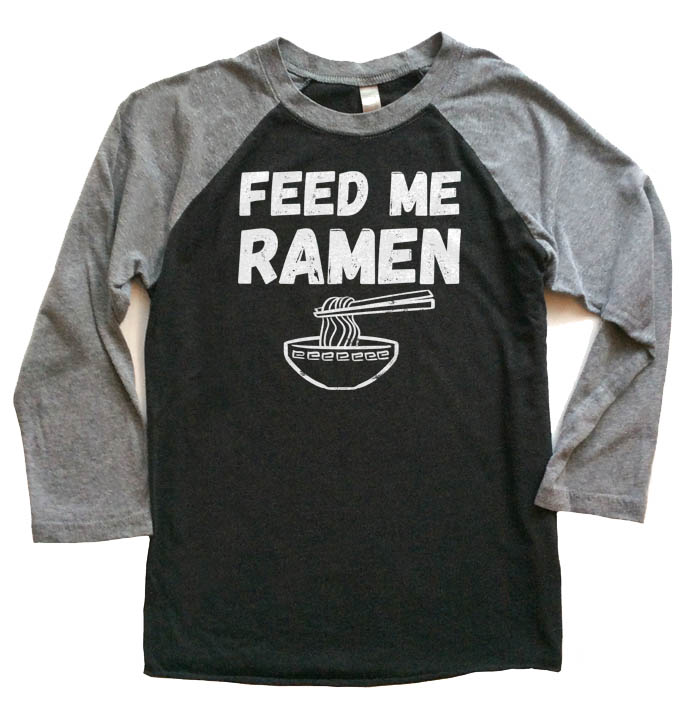 Feed Me Ramen Raglan T-shirt 3/4 Sleeve - Grey/Black