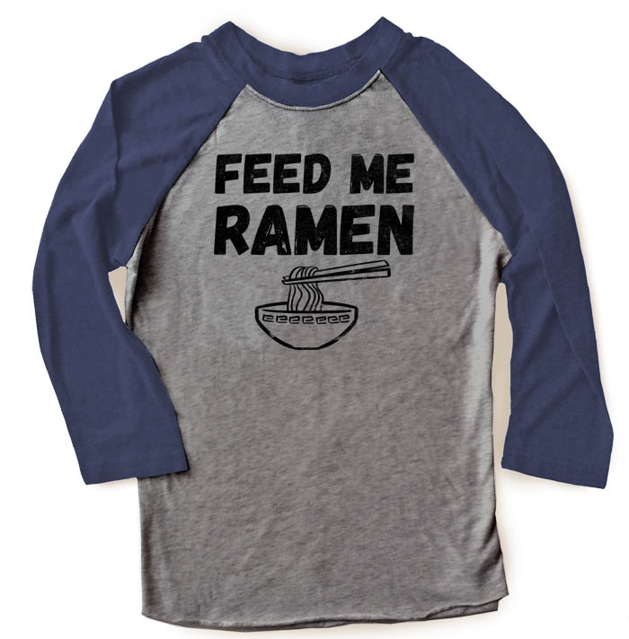 Feed Me Ramen Raglan T-shirt 3/4 Sleeve - Navy/Grey