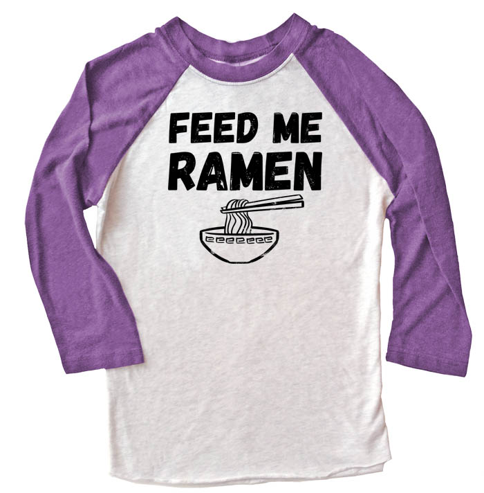 Feed Me Ramen Raglan T-shirt 3/4 Sleeve - Purple