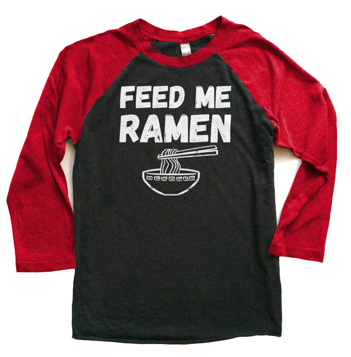Feed Me Ramen Raglan T-shirt 3/4 Sleeve - Red/Black
