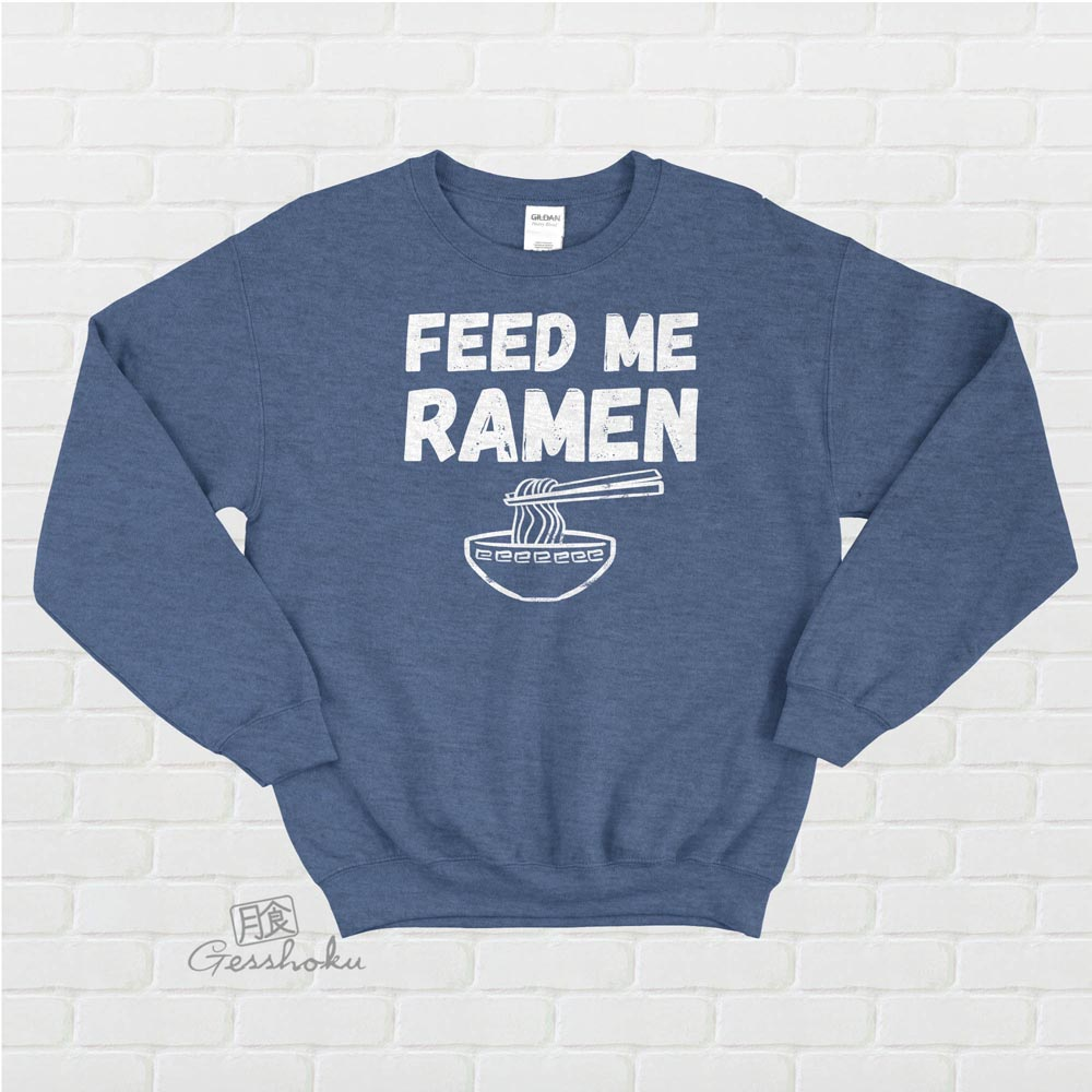 Feed Me Ramen Crewneck Sweatshirt - Heather Blue
