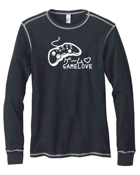 Game Love Mens Long-Sleeve Thermal Shirt - Black