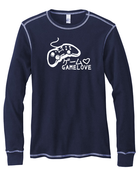 Game Love Mens Long-Sleeve Thermal Shirt - Navy Blue