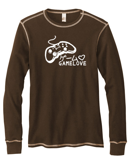 Game Love Mens Long-Sleeve Thermal Shirt - Brown