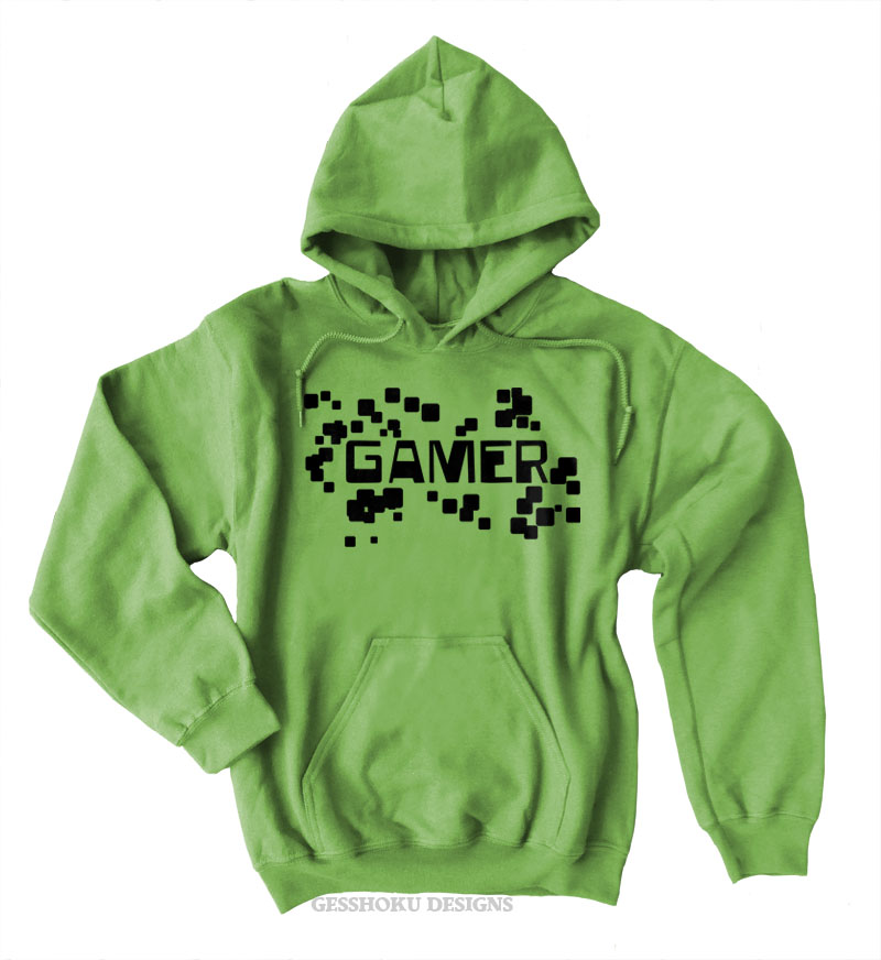 Gamer Floating Pixels Pullover Hoodie - Lime Green