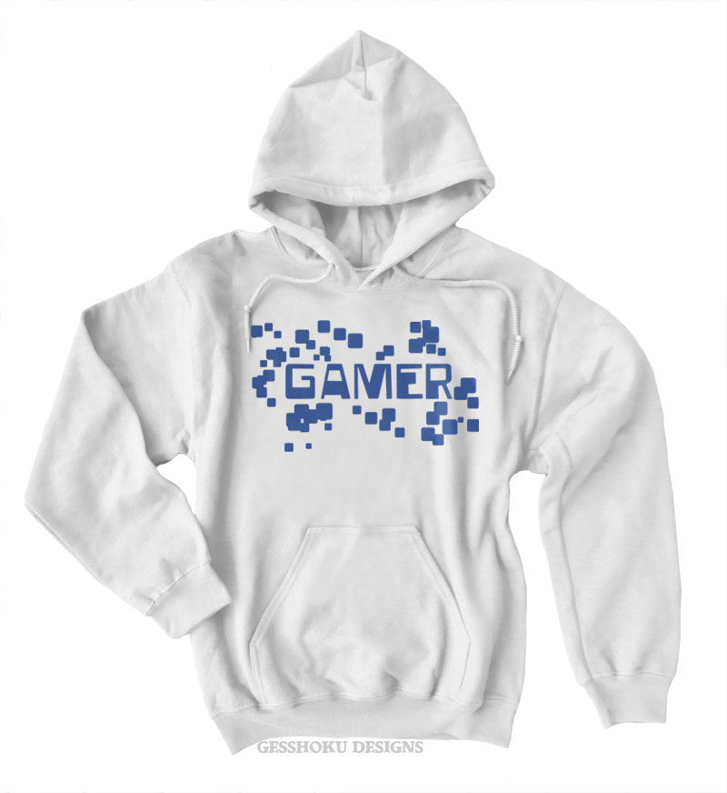 Gamer Floating Pixels Pullover Hoodie - White