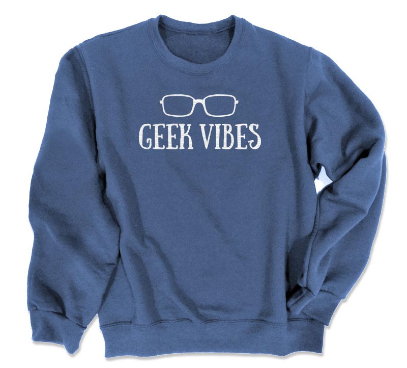 Geek Vibes Crewneck Sweatshirt - Heather Blue