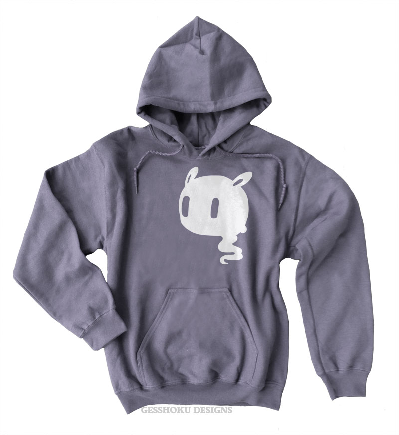 Kawaii Ghost Pullover Hoodie - Charcoal Grey