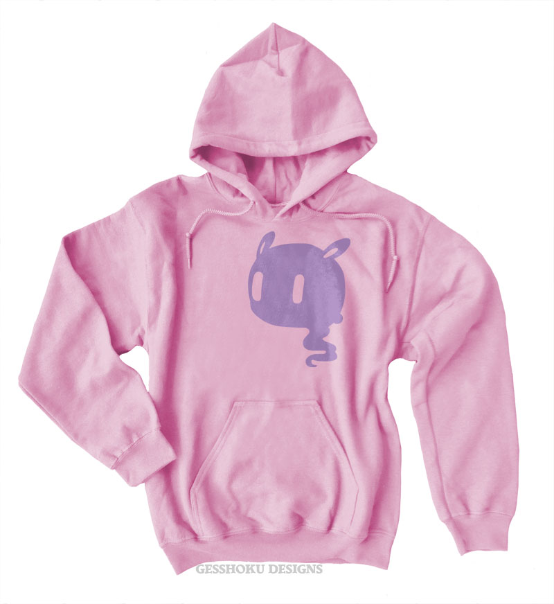 Kawaii Ghost Pullover Hoodie - Light Pink