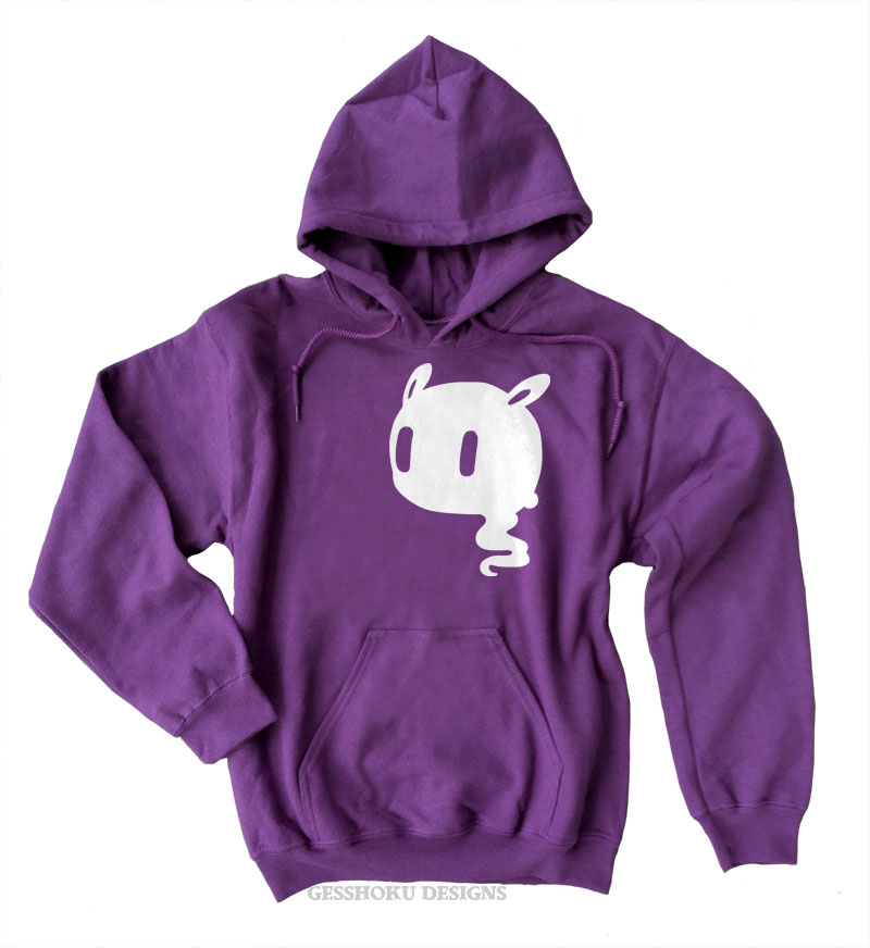 Kawaii Ghost Pullover Hoodie - Purple
