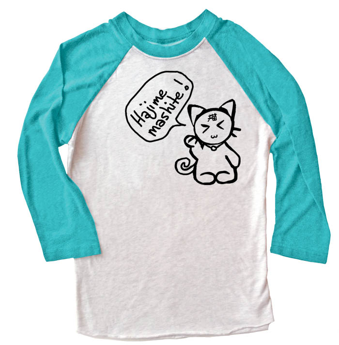Hajimemashite Kitty Raglan T-shirt 3/4 Sleeve - Teal/White