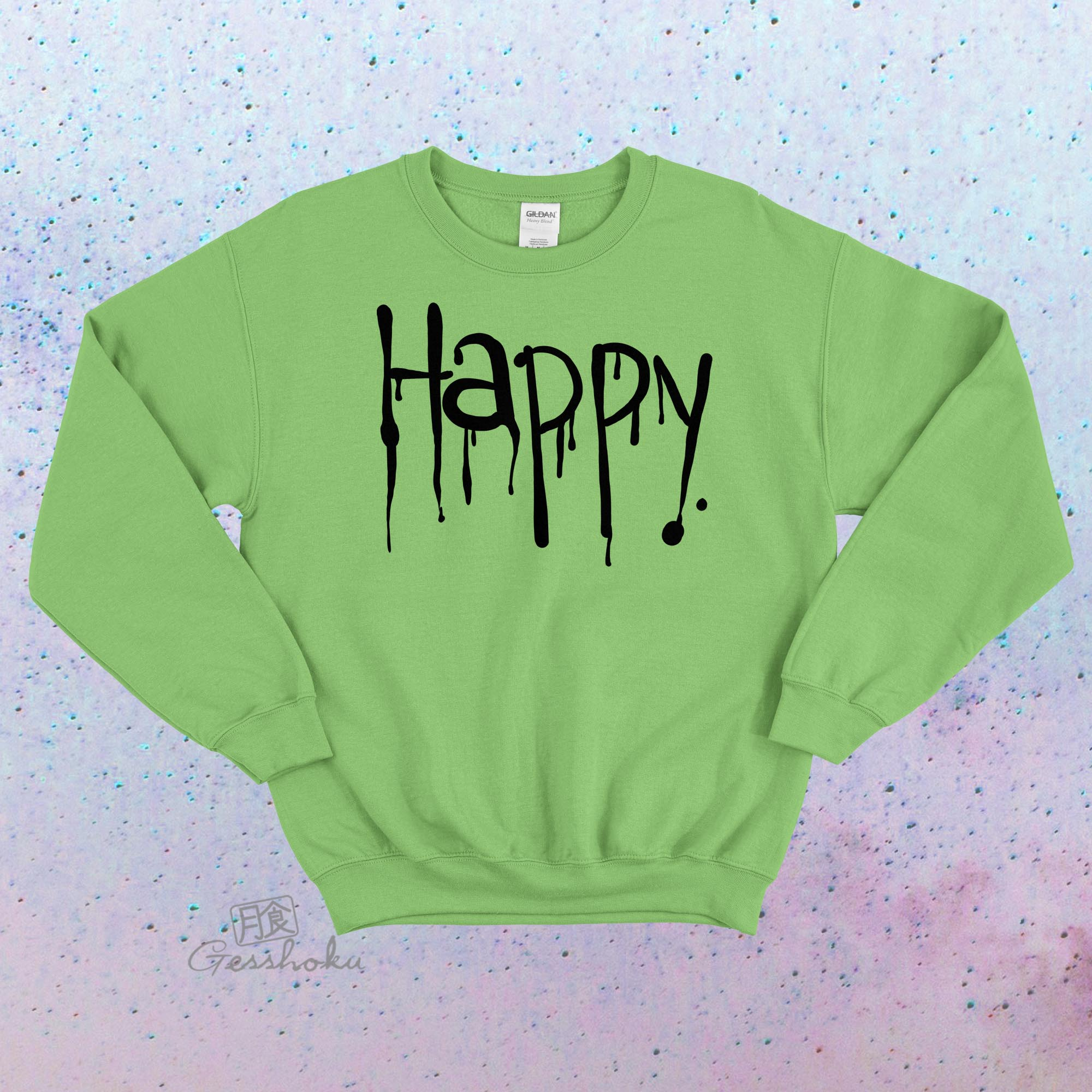 """Happy"" Dripping Text Crewneck Sweatshirt - Lime Green"