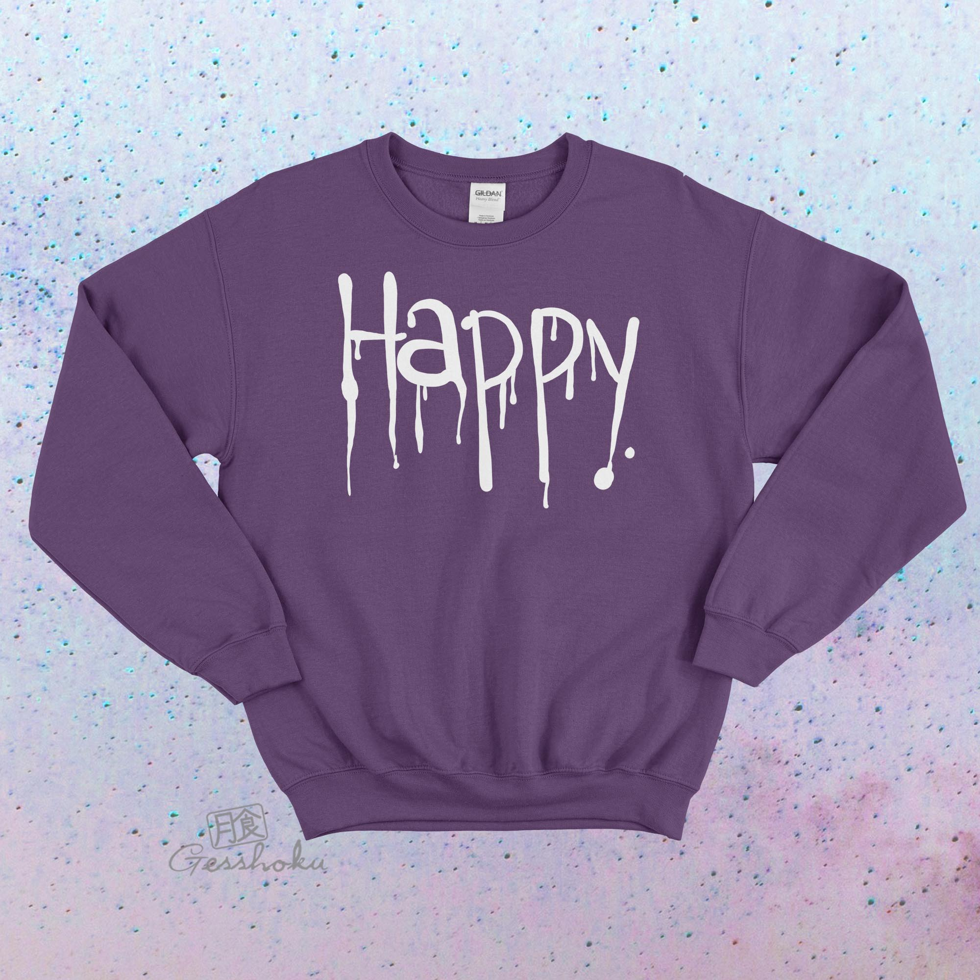"""Happy"" Dripping Text Crewneck Sweatshirt - Purple"