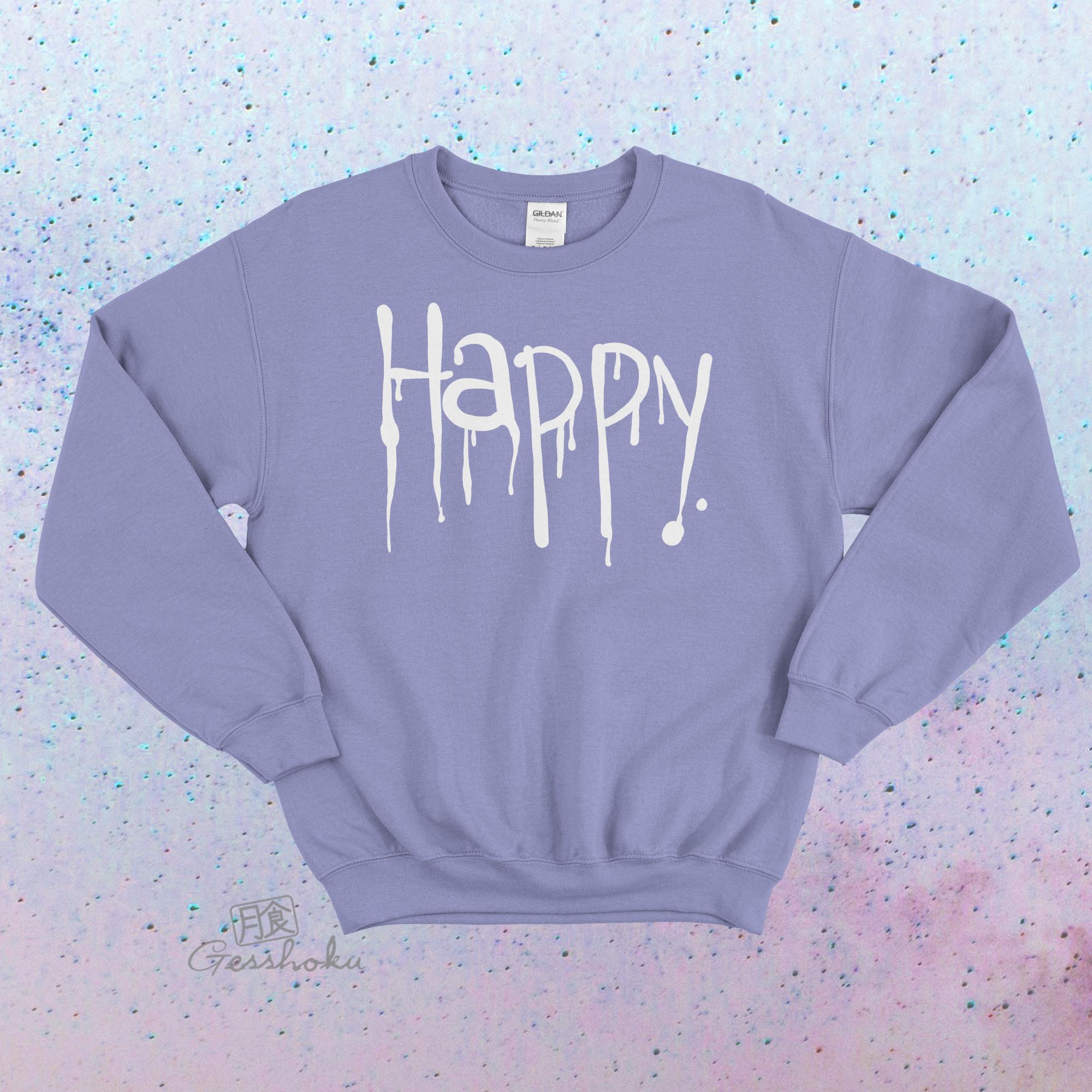 """Happy"" Dripping Text Crewneck Sweatshirt - Violet"