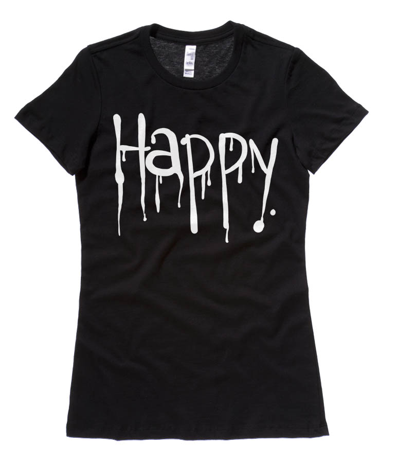"""Happy"" Dripping Text Ladies T-shirt - Black"