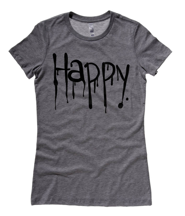 """Happy"" Dripping Text Ladies T-shirt - Deep Heather Grey"