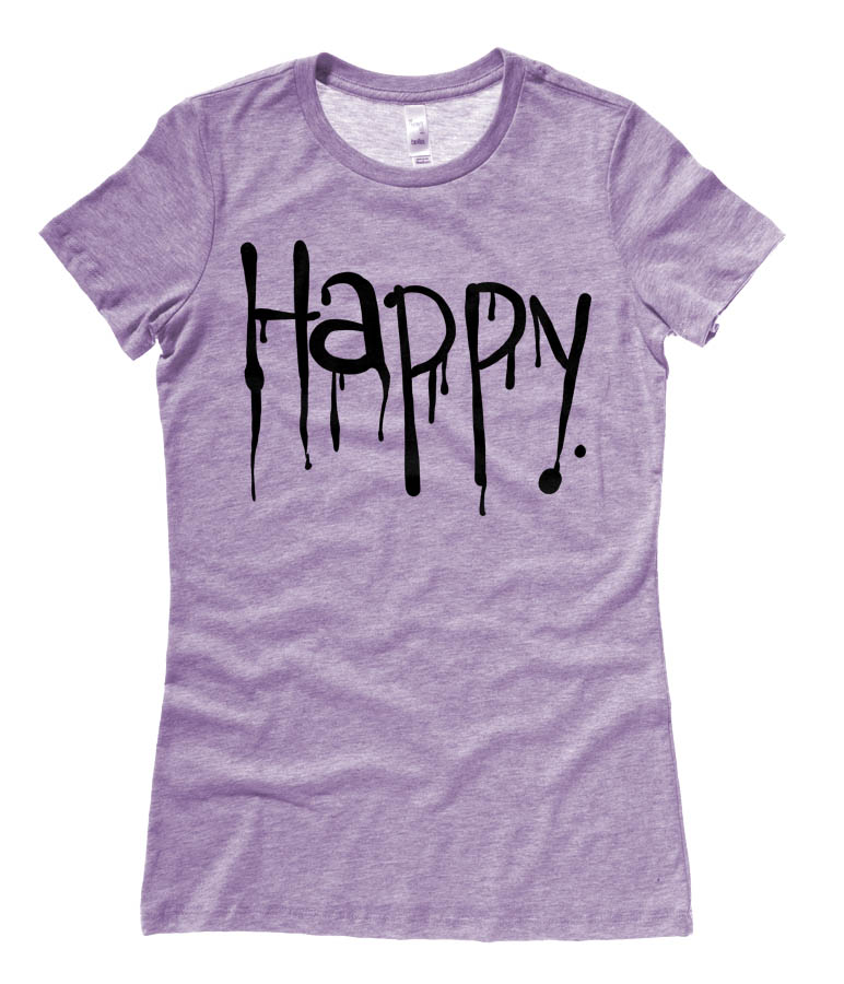 """Happy"" Dripping Text Ladies T-shirt - Heather Purple"