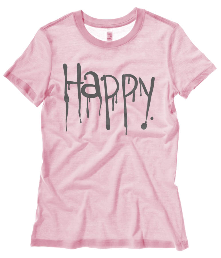 """Happy"" Dripping Text Ladies T-shirt - Light Pink"
