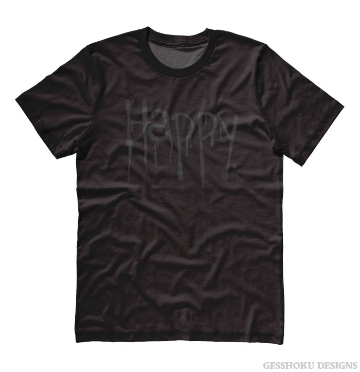 """Happy"" Dripping Text T-shirt - Shimmer Black on Black"