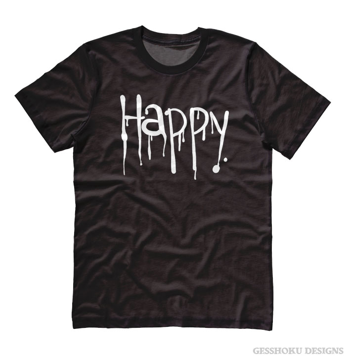 """Happy"" Dripping Text T-shirt - Black"