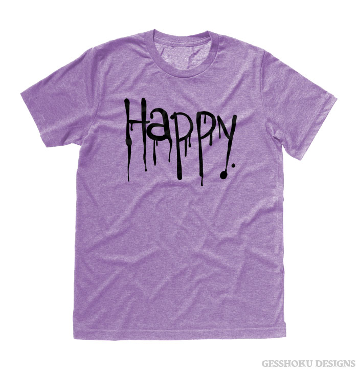 """Happy"" Dripping Text T-shirt - Heather Purple"